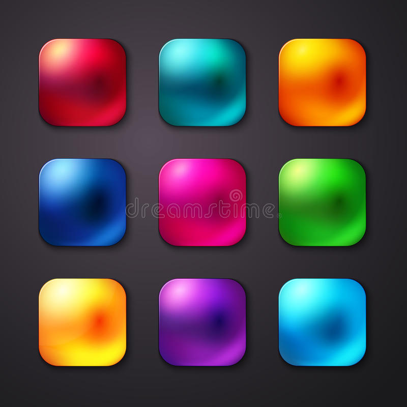 Set of realistic and colorful mobile app buttons. Vector illustration. royalty free illustration