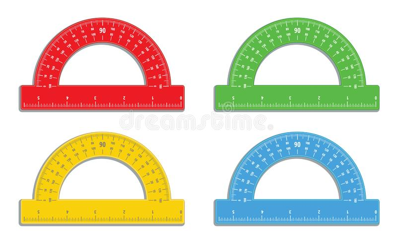 Set of realistic colorful protractors with 6 inch ruler icon. Math measure tool. Instrument for measuring angles. School supplies. royalty free illustration