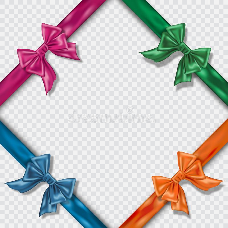 Set of Realistic colorful satin bows and ribbons on checkered background. Template for brochure or greeting stock illustration