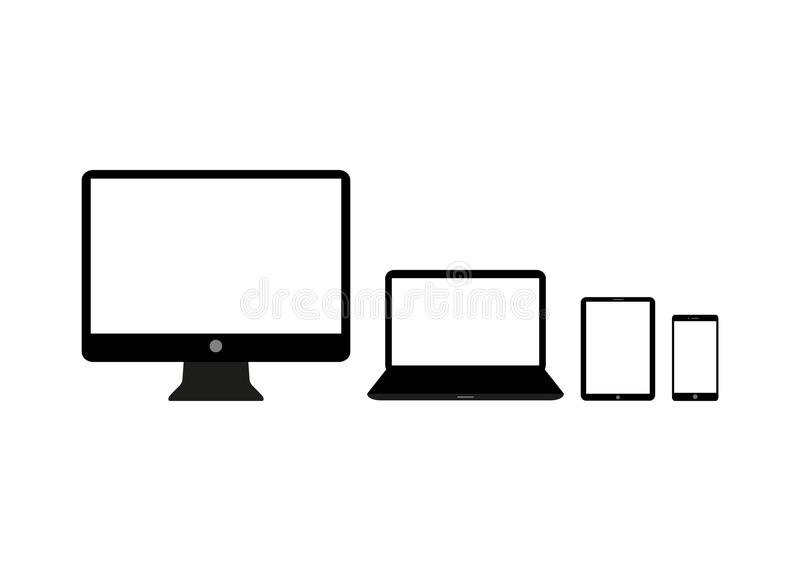 Set of realistic Computer, Laptop, Tablet and mobile phone. Modern flat screen computer monitor royalty free illustration
