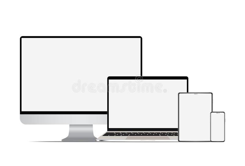 Set of realistic computer laptop tablet and smartphone. Electronic gadgets, isolated, on white background royalty free illustration