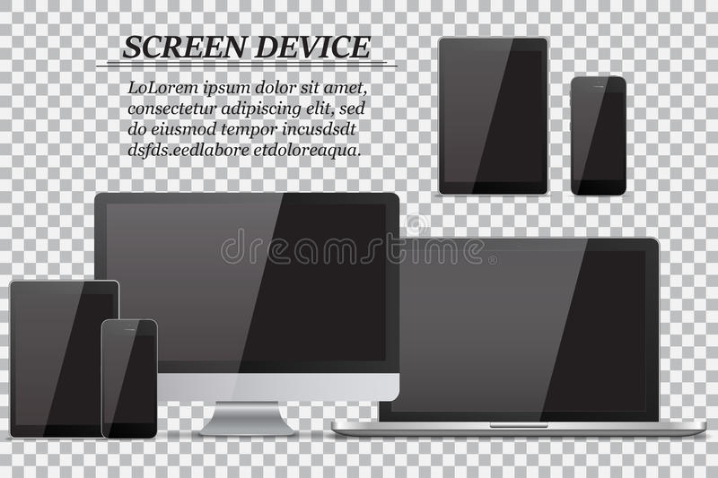 Set of realistic computer monitor, laptop, tablet and mobile phone with empty black screen on transparent background royalty free illustration