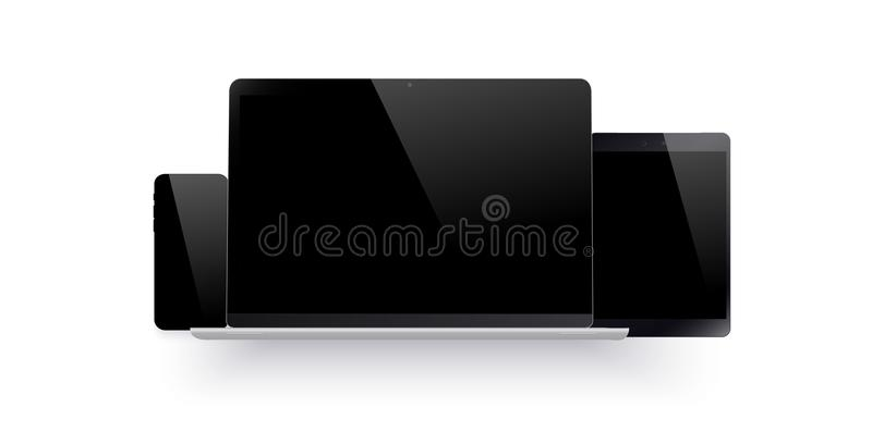 Set of realistic computer monitor, laptop, tablet and mobile phone with empty black screen. Various modern electronic stock illustration