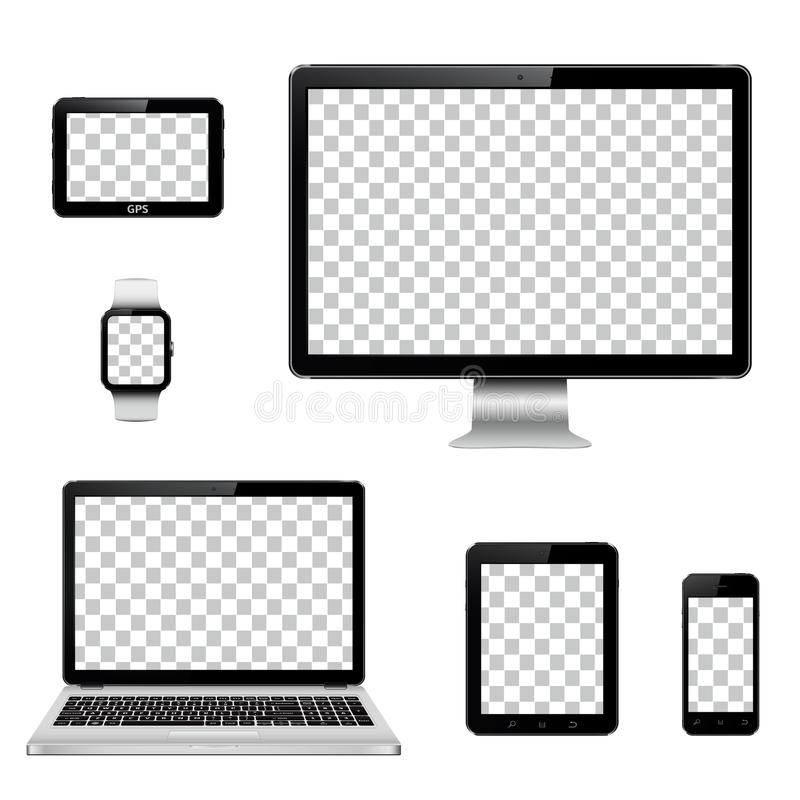 Modern technology devices with transparent wallpaper screen isolated vector illustration