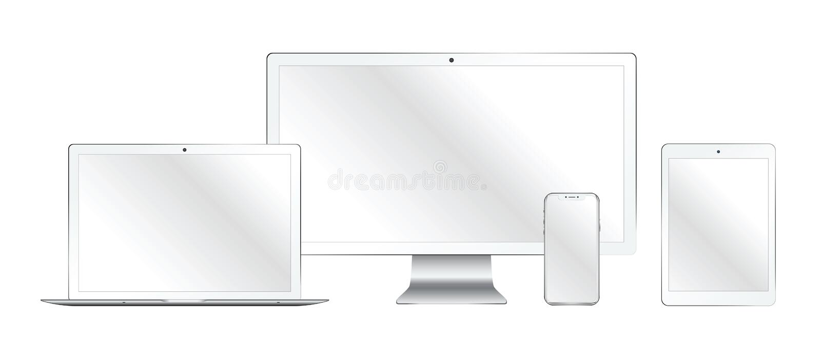 Set of realistic computer monitor, laptop, tablet, mobile phone vector illustration