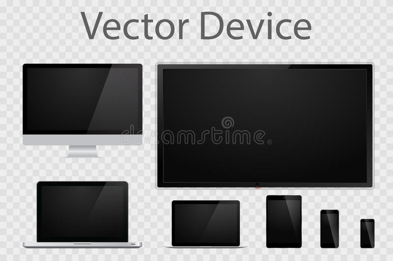 Set of realistic computer monitors, laptops, tablets, TV and mobile phones. Electronic gadgets isolated on transparent background vector illustration