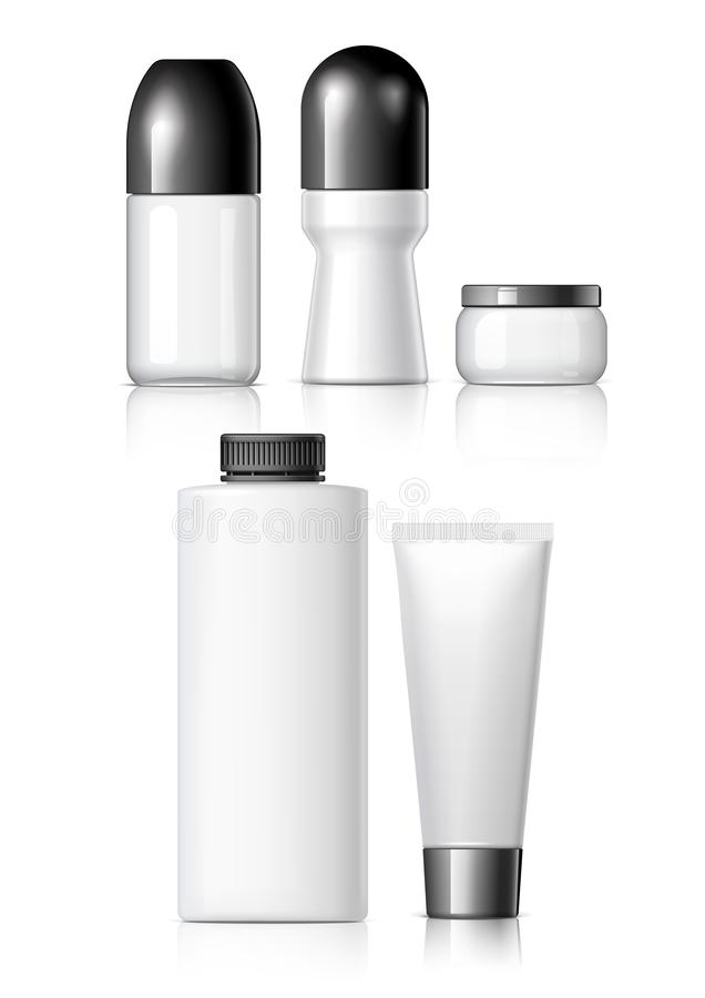 Set of Realistic cosmetic bottle. With black lid on a white background. Package collection for cream, shampoo, glue. Mock up set for brand template. vector vector illustration