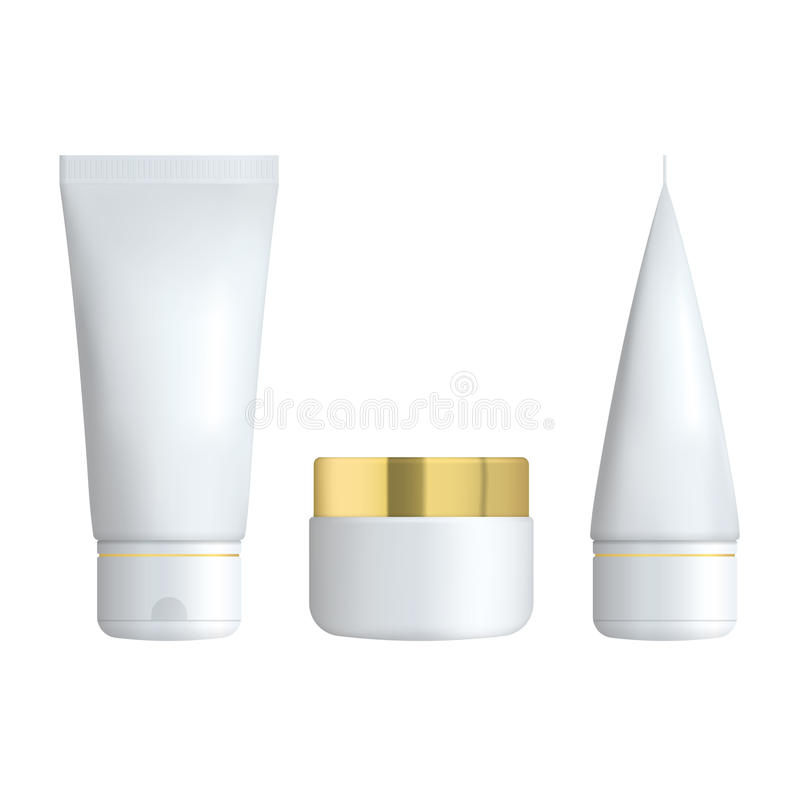 Set of Realistic cosmetic bottle on a white background. Cosmetic package collection for cream, soups, foams, shampoo. Glue. Mock up set for brand template stock illustration