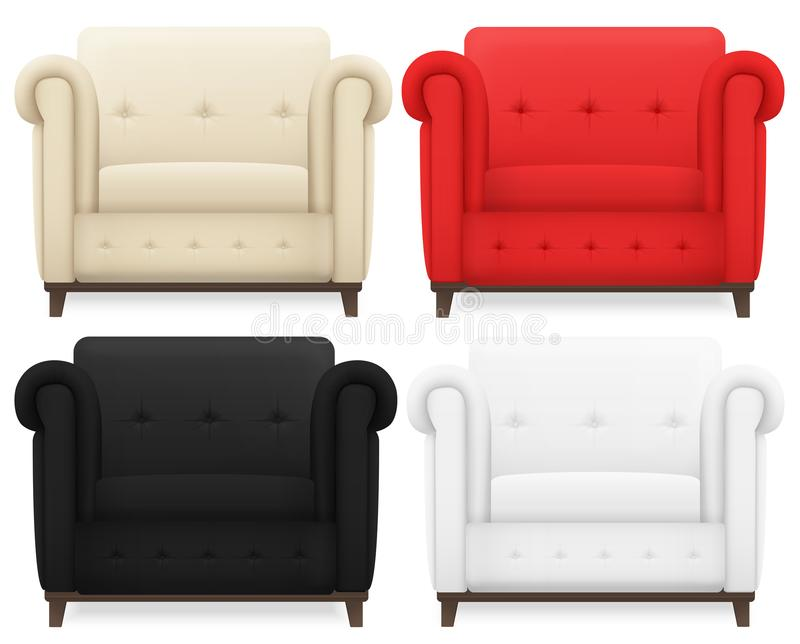 Set of realistic Cream, red, black and white vintage cozy soft home chair isolated. vector illustration