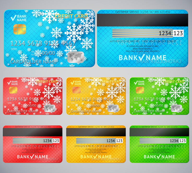 Download Set Of Realistic Credit Card Two Sides Stock Photography - Image: 37432072