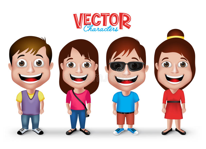 Set of Realistic 3D Boys and Girls Young Adult Kids Characters. Happy Smiling in Casual Dress Fashion in White Background. Editable Vector Illustration vector illustration