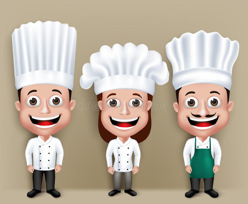Set of Realistic 3D Chef Man and Woman Characters. Happy Smiling in Culinary Dress Attire for Cooking. Editable Vector Illustration royalty free illustration