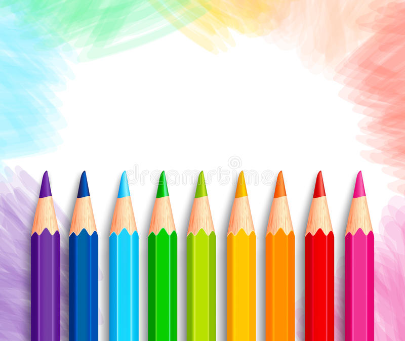 Set of Realistic 3D Colorful Colored Pencils or Crayons. In a Brushed White Background with Texture for Back to School with White Space for Message. Vector stock illustration