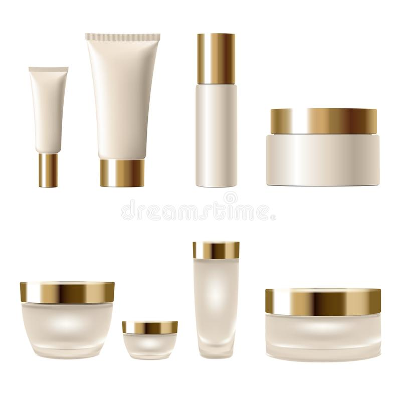 Set realistic 3d cosmetic package cream jar tubes. Light yellow beige gold metallic containers glass plastic isolated royalty free illustration