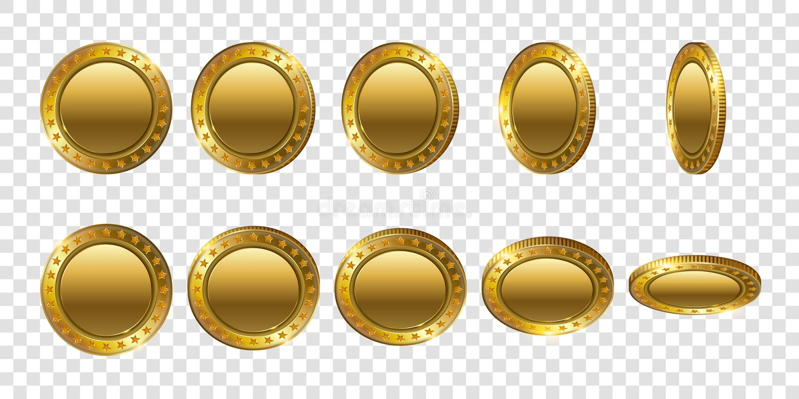 Set of realistic 3d gold coins. Flip Different Angles. royalty free illustration