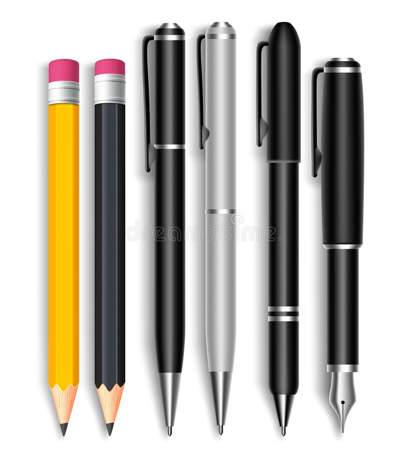 Set of Realistic 3D Pencils and Elegant Black and Silver Ball Pens royalty free illustration