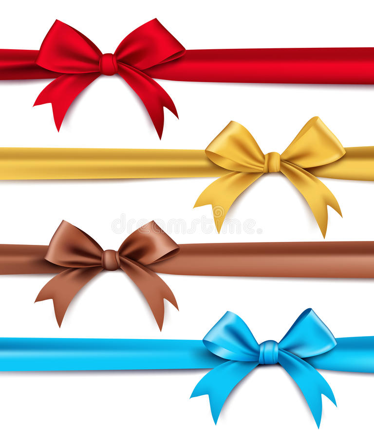 Set of Realistic 3D Silk or Satin Ribbons and Bow vector illustration