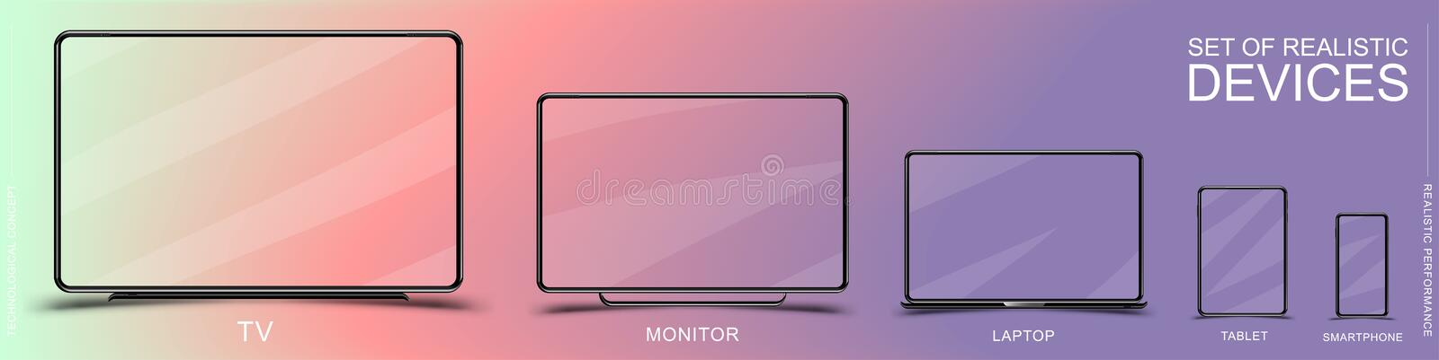 Set of realistic devices. Smartphone, tablet, laptop, monitor and TV on colored background. Flat vector illustration EPS 10.  vector illustration
