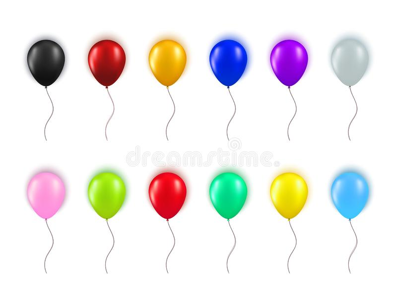 Set of realistic different colors balloons isolated on white background. Collection of element for Birthday party, grand. Opening or Black Friday Sale greeting stock illustration