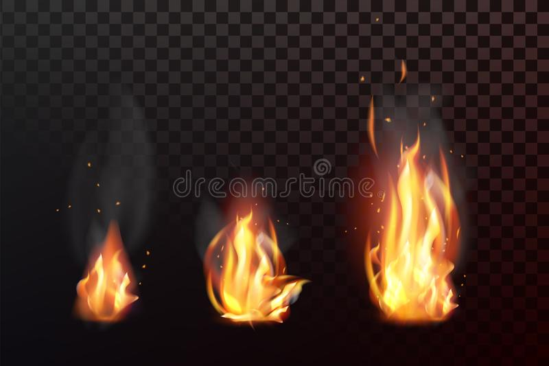 Set of realistic fire flames with transparency isolated on checkered background. Vector illustration royalty free illustration