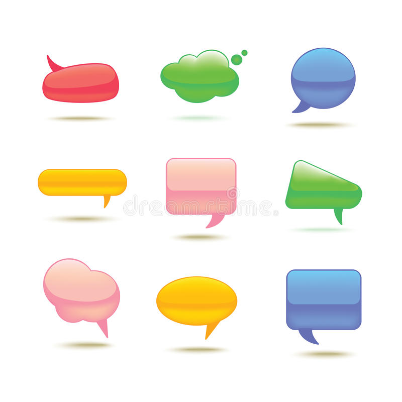 Set of Realistic Glass Vector Speech Bubble. royalty free illustration