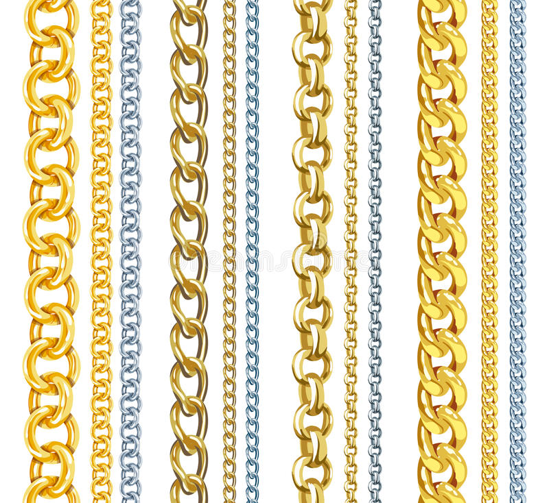 Set Of Realistic Gold And Silver Chains Stock Illustration