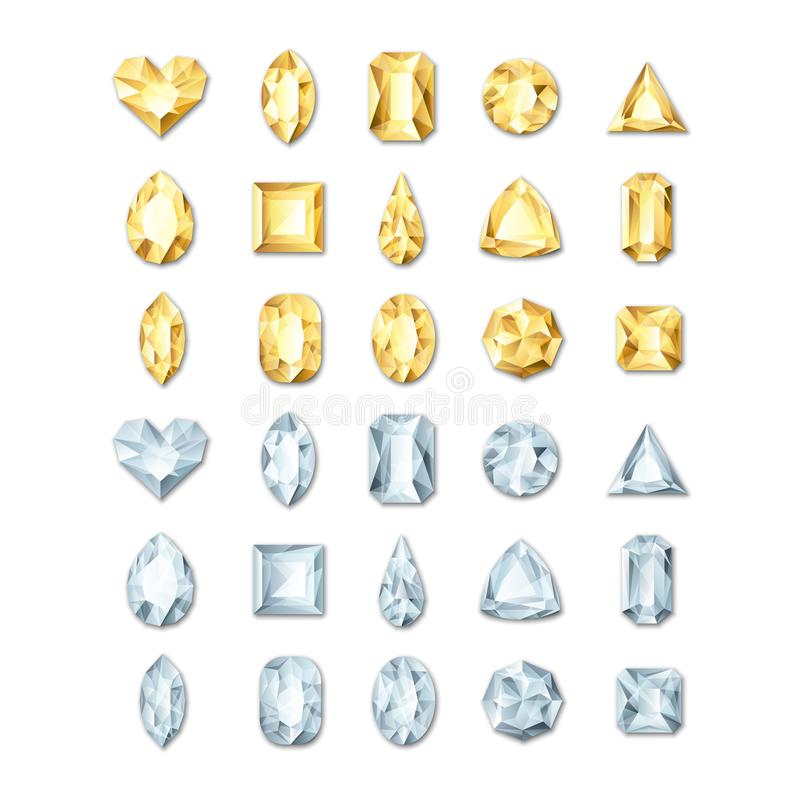 Vector realistic golden and silver white gems and jewels on white background. Gold shiny diamonds with different cuts. royalty free illustration