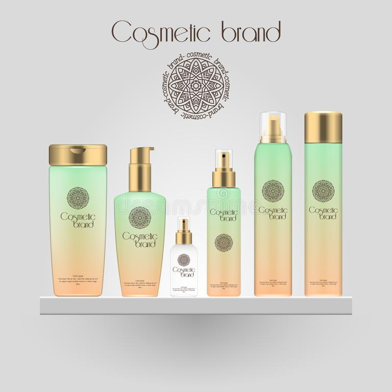 Set of realistic gradient color cosmetic bottle. 3D mockup bottle isolated on white background. Cosmetic products package. Set of realistic gradient color stock illustration