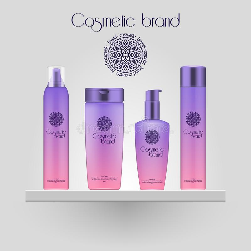 Set of realistic gradient color cosmetic bottle. 3D mockup bottle isolated on white background. Cosmetic products package. Set of realistic gradient color vector illustration