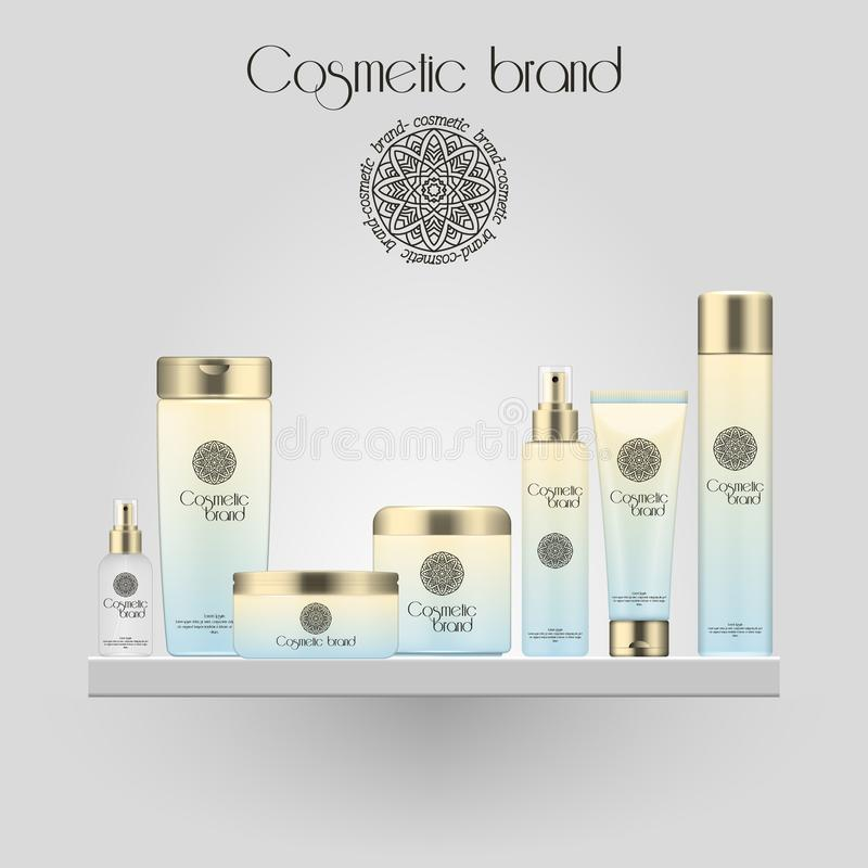 Set of realistic gradient color cosmetic bottle. 3D mockup bottle on white background. Cosmetic products package. Set of realistic gradient color cosmetic vector illustration