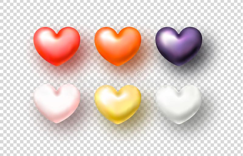 Set of realistic Hearts on transparent background. Vector Illustration vector illustration