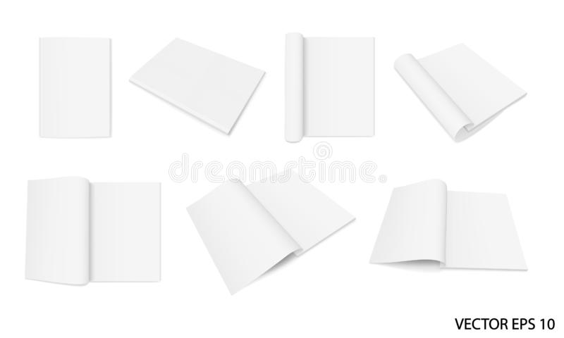 Set of realistic images mock up, layout of open and closed magazines. stock photo