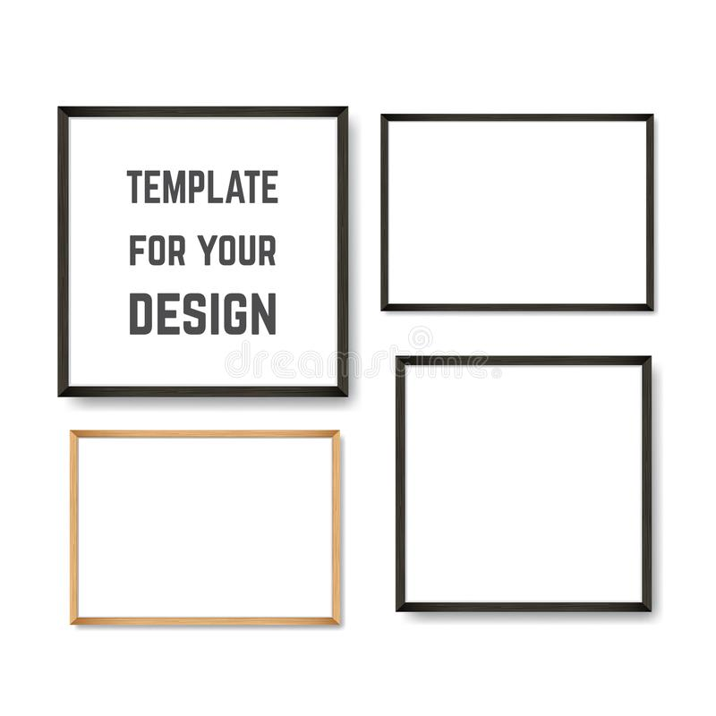 Set of Realistic Light and Dark Wooden Picture Frames on a White Wall. Set of Realistic Light and Dark Wooden Picture Frames on a White Wall, isolated on white stock illustration
