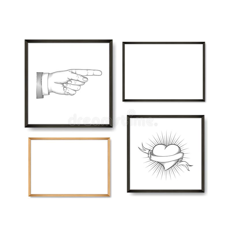 Set of Realistic Light and Dark Wooden Picture Frames on a White Wall with posters heart and pointing finger. Set of Realistic Light and Dark Wooden Picture stock illustration