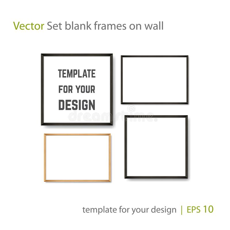 Set of Realistic Light and Dark Wooden Picture Frames on a White Wall. Set of Realistic Light and Dark Wooden Picture Frames on a White Wall, isolated on white vector illustration