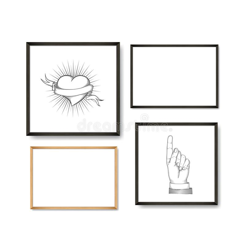 Set of Realistic Light and Dark Wooden Picture Frames on a White Wall with posters heart and pointing finger. Set of Realistic Light and Dark Wooden Picture vector illustration