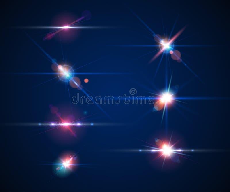 Set realistic light glare, highlight. Lighting effects, flash royalty free illustration