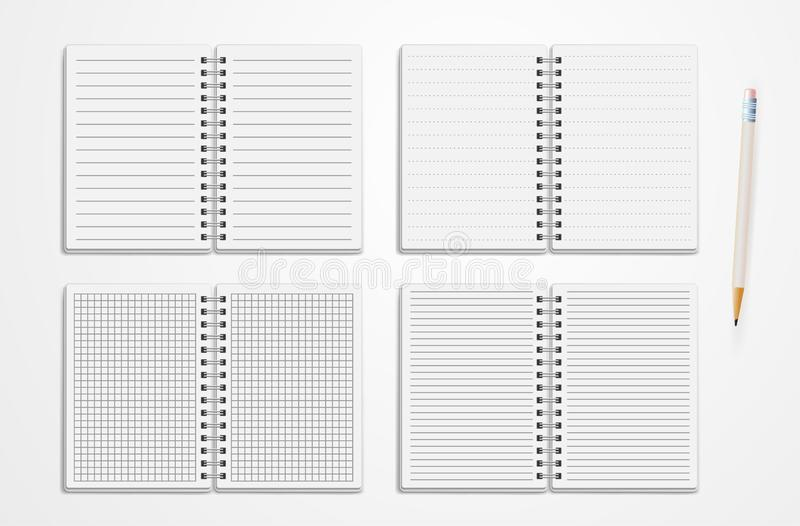 Set Of Realistic Line Notebooks. Blank Padded Diary Sketchbook With Dots And Lines For Writing And Painting Empty Templates. royalty free illustration