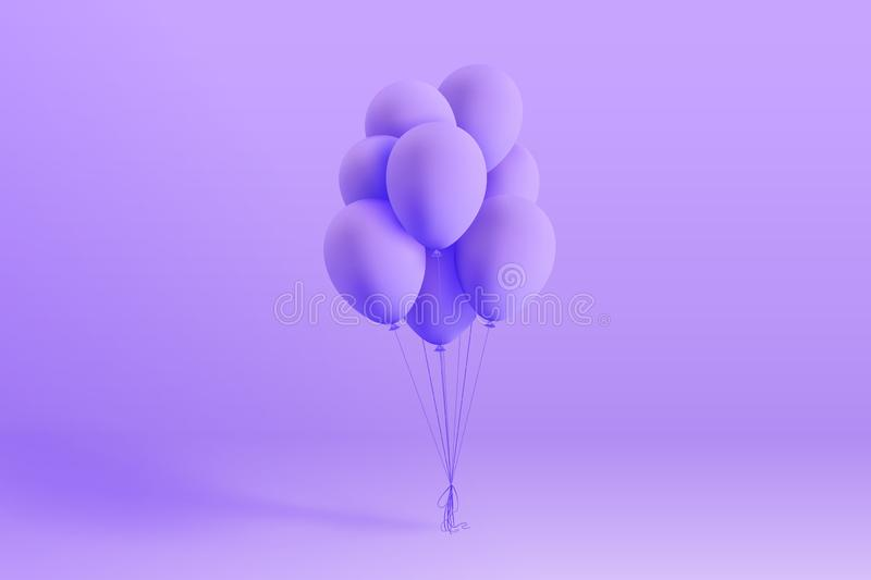 Set of realistic mat helium balloons floating on purple background vector illustration