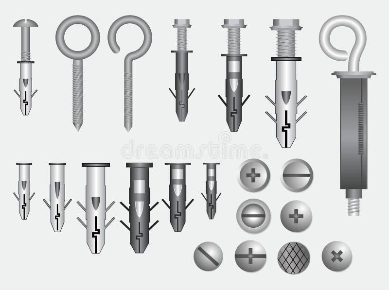 Set of realistic metal screw stainless. Easy to modify stock illustration