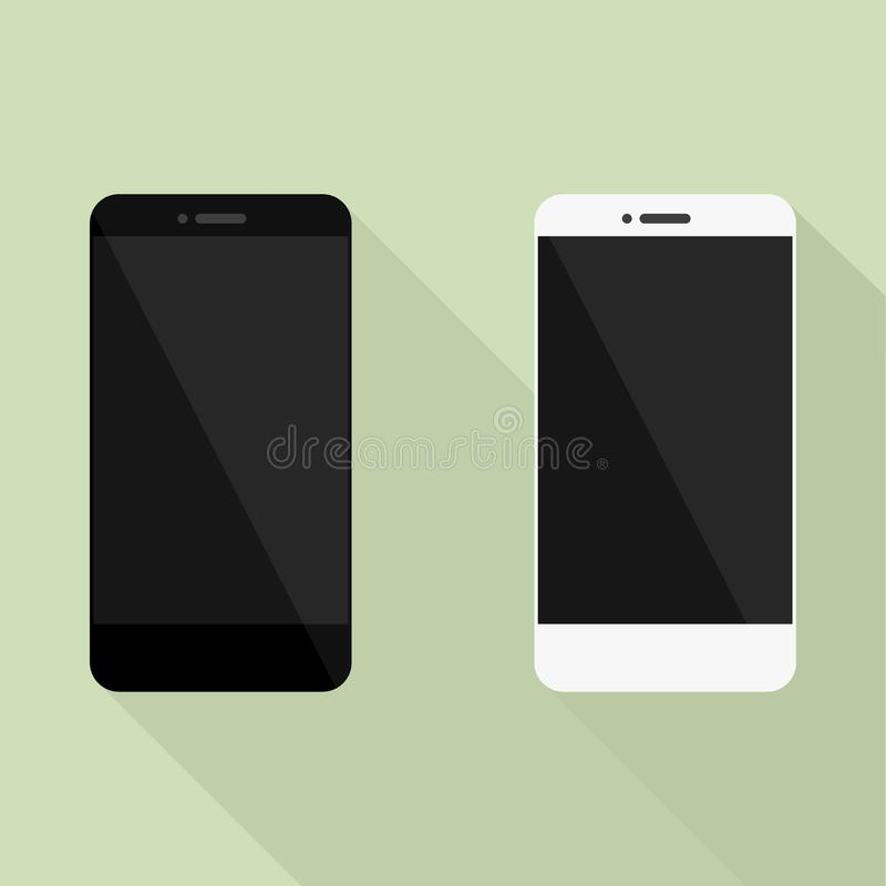 Set of Realistic mobile phone collection in new style. White and black smartphone with shadow royalty free illustration