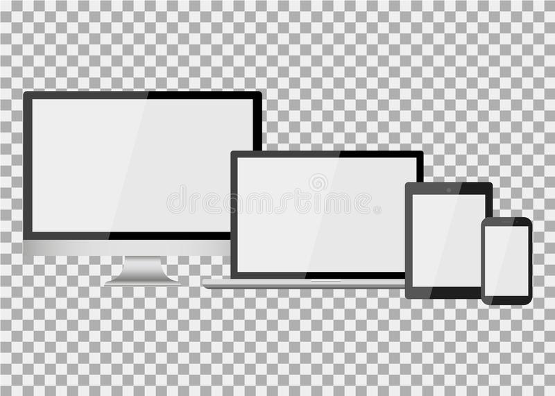 Set of realistic modern blank screen lcd, led, TV, monitor, laptop, notebook, pad, phone on isolate background vector illustration