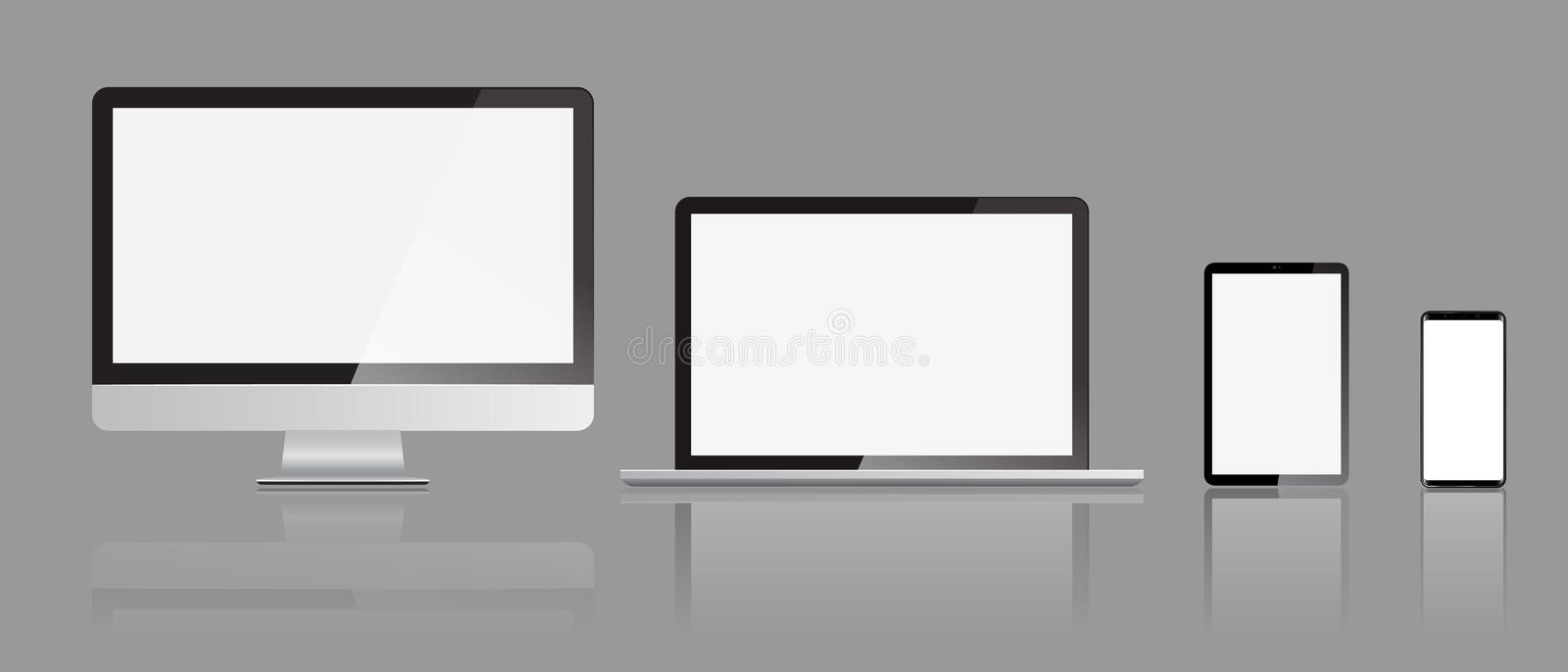 Set of realistic Monitors laptop tablet and smartphone display mockups with front view. Vector illustration. stock illustration