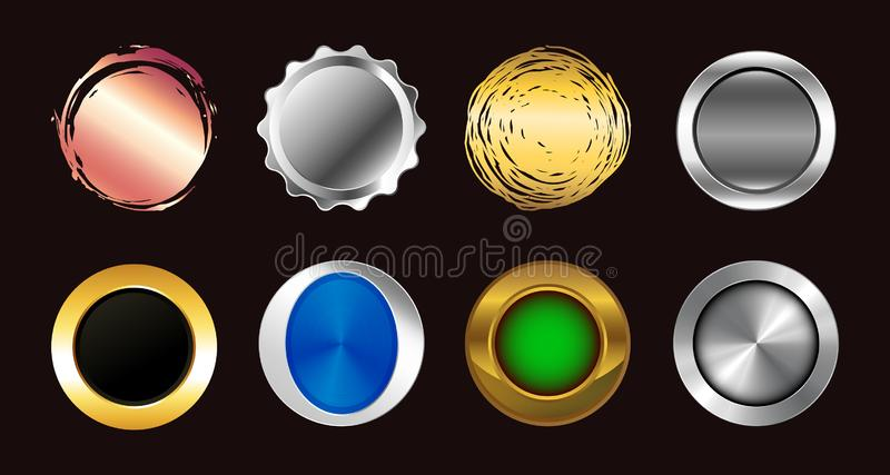 Set of realistic multicolored big buttons. stock illustration