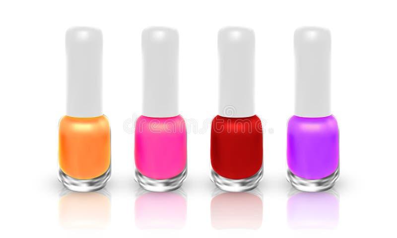 Set of realistic nail polish isolated on white background. illustration royalty free illustration