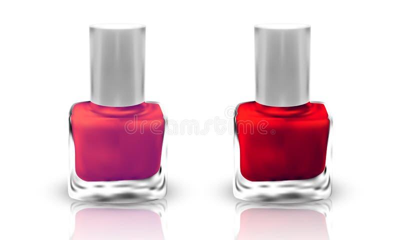 Set of realistic nail polish isolated on white background. illustration stock illustration