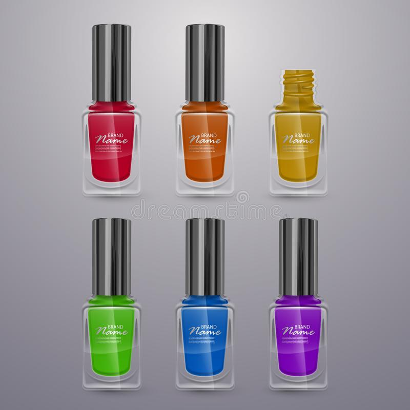 Set of realistic nail polishes of bright colors, 3d illustrations, ads for design Cosmetics and fashion background vector illustration