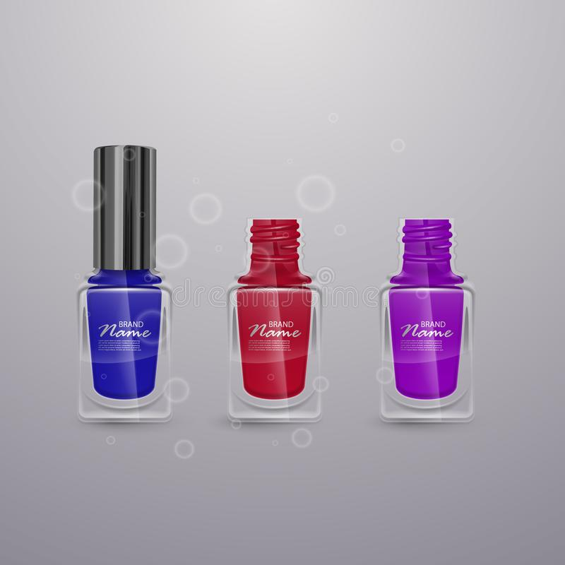 Set of realistic nail polishes of bright colors, 3d illustrations, ads for design Cosmetics and fashion background royalty free illustration