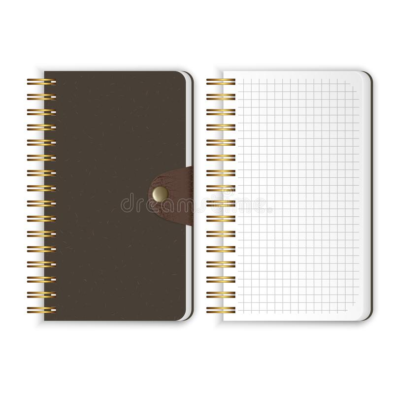 Set of Realistic notebook. Blank open and closed spiral binder notebooks. Vector template isolated on white background vector illustration
