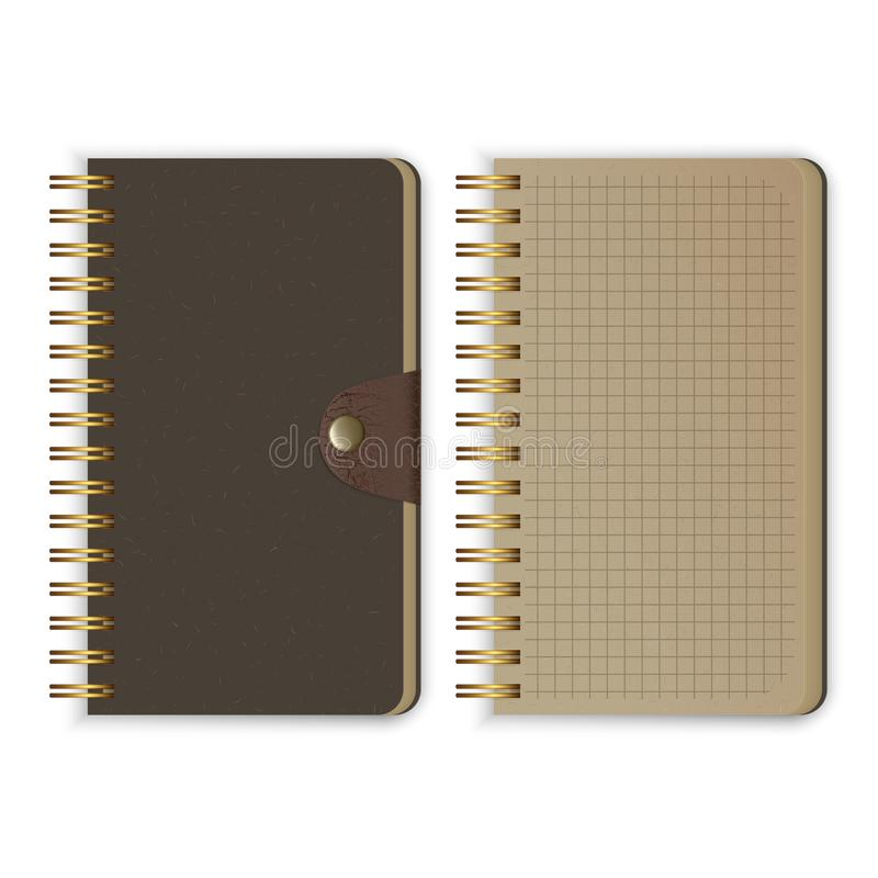 Set of Realistic notebook. Blank open and closed spiral binder notebooks. Vector template isolated on white background. Set of Realistic notebook. Blank open and vector illustration